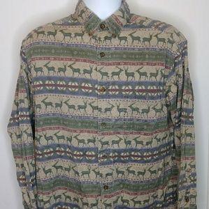 Vtg Woolrich Deer/Elk Theme Button-Up Shirt